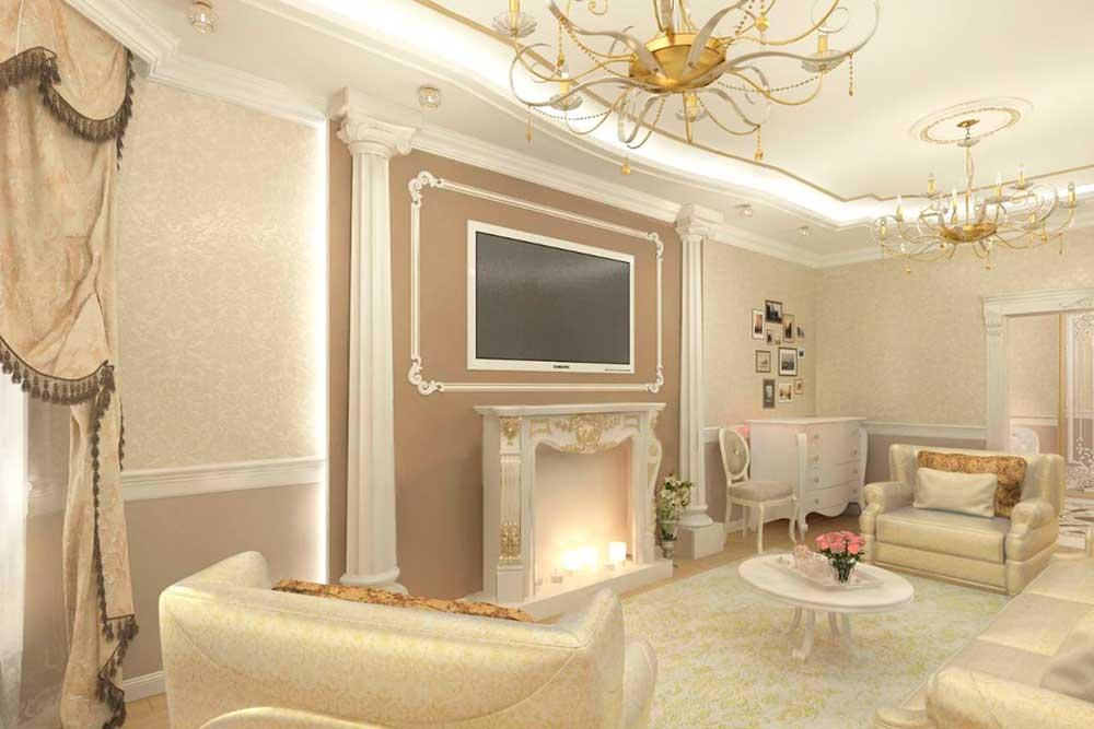 Камин - украшение гостиной комнаты